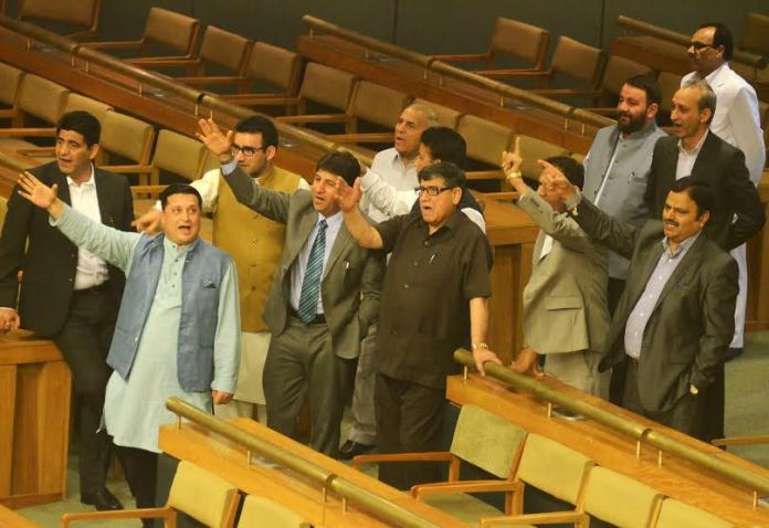 The Opposition lawmakers staging walk out from the house. Former CM and NC working president gave a miss on day first of the budget session. (KL Image: Bilal Bahadur)