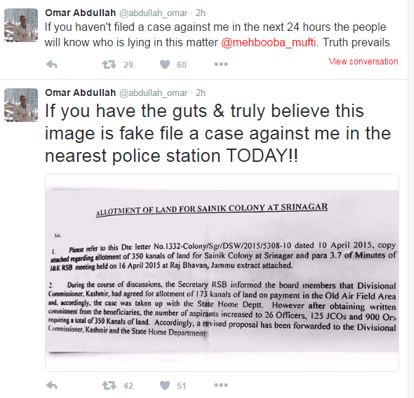 Screenshot of Omar Abdullah's Twitter account downloaded on May 09, 2016 @ 01: 50 PM