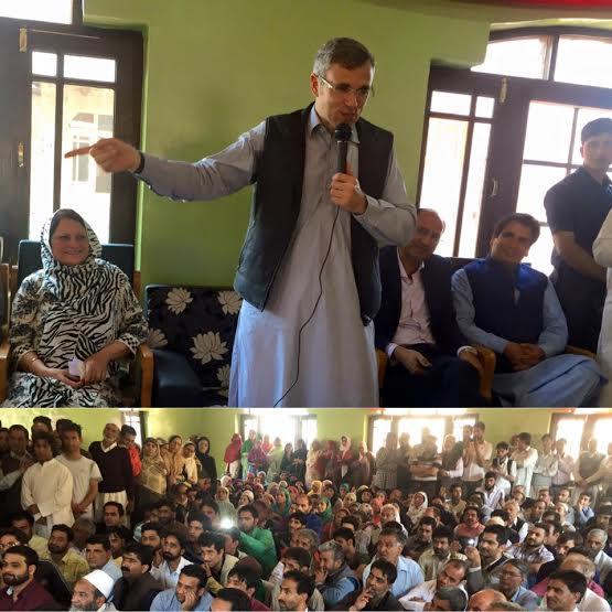 Omar Abdullah at a party meet in Kani Kadal Srinagar on May 02, 2016. (KL Image: NC Spokesperson)