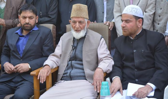 Syed Ali Geelani addressing press on May 02, 2016 at his Hyderpora residence-cum-office. (KL Image: APHC-g Media)