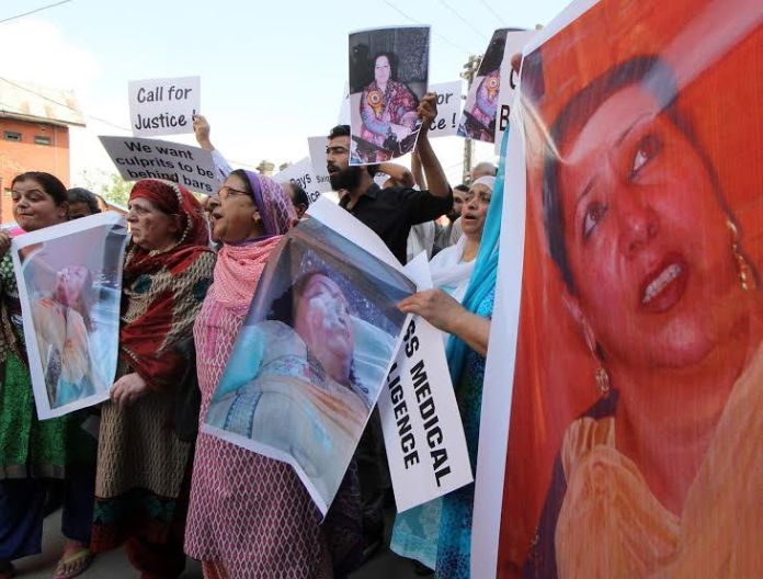 Parents and relatives of a Srinagar woman who was allegedly murdered by her in-laws on May 15 last month Wednesday  staged a protest in Srinagar demanding justice.PHOTO BY BILAL BAHADUR