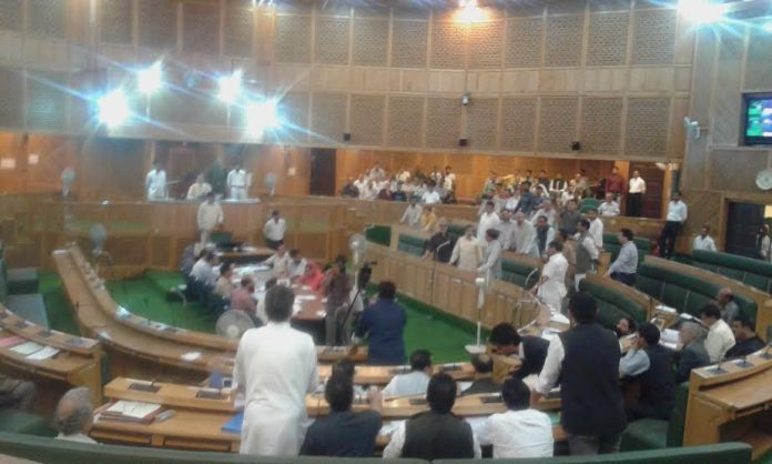 The Opposition members raising anti-government slogans in Lower House on June 16, 2016.