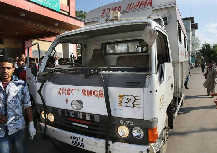 Ambulances damaged by forces which were carrying injured civilians from Pulwama to SMHS.