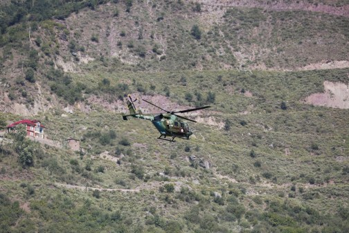Scores of helicopter sorties roved over Uri on September 18, 2016 following the militant attack. (KL Image: Bilal Bahadur)