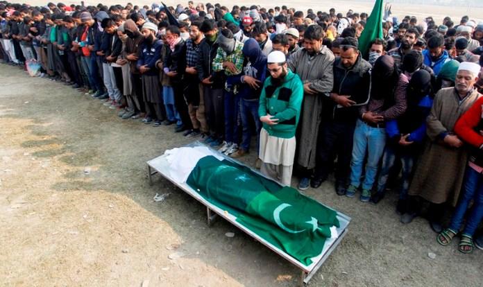 'Namaz-e-Jinazah' of Qaiser Hameed Sofi, 16, on Nov 05, 2016 in Eidgah Srinagar. (KL Image: Bilal Bahadur)