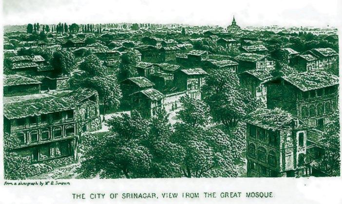 An image of an organised Srinagar city. This Srinagar was visible from the Jamia Masjid.