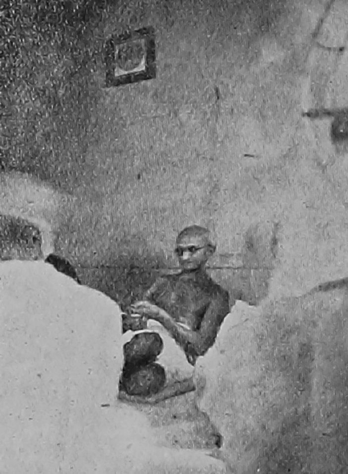 Gandhi in Mujahid Manzil, Srinagar Begum Abdullah is also there.