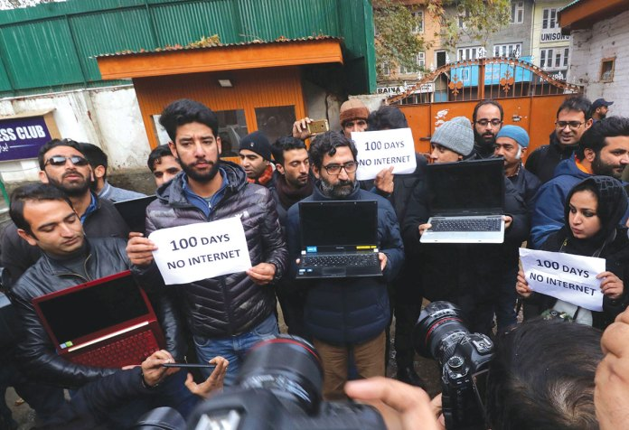 Journalists protesting against internet gag in Kashmir.