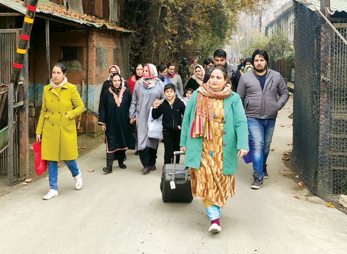 Relatives of political detainees coming out of MLA hostel Srinagar - KL Image by Tahir Bhat