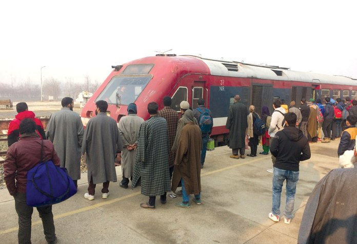 Passengers waiting to board Banihal train at Anantnag station. KL Image by Umar Khurshid