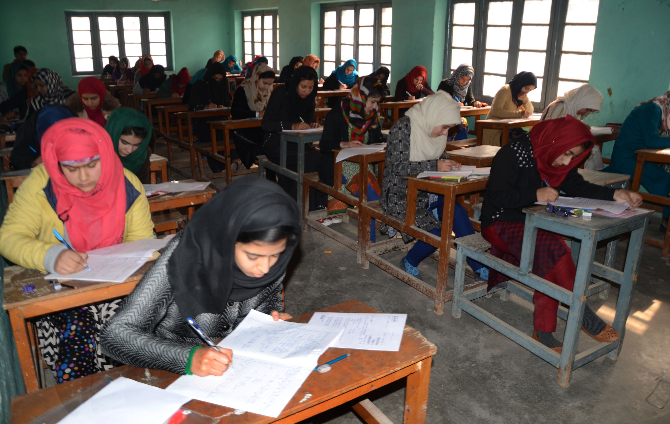 Thousands of students appeared in Class 12th examinations that began today in the Valley. Photo: Zargar Zahoor
