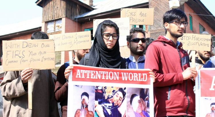 IN PICTURES: Pellet victims protest in Srinagar