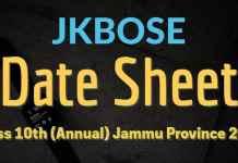 JKBOSE Date Sheet for Class 10th (Annual) Jammu Province 2017