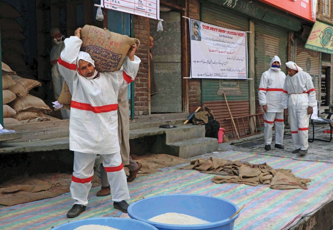 Workers wearing protective gears