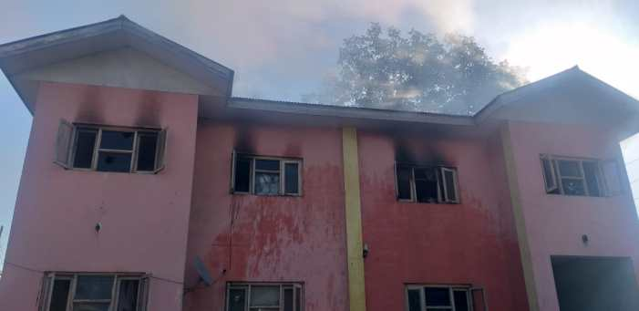 Police Station Awantipora partially damaged in fire incident