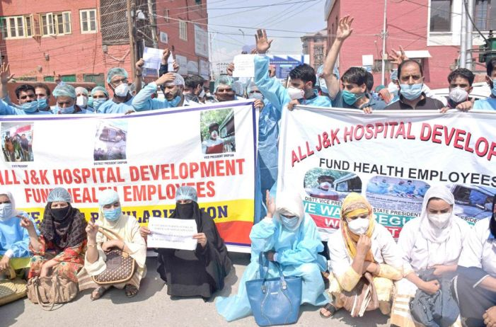 Staffers employed on hospital development funds hold protest, demand pending wages