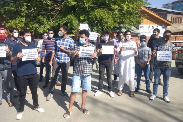 Demanding early online exams, IUST BTech students hold protest