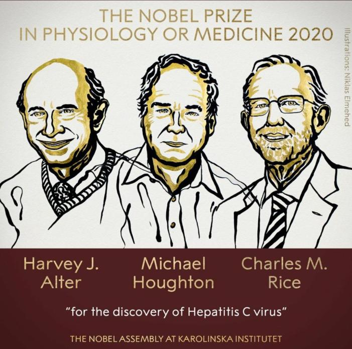 Harvey J Alter, Michael Houghton and Charles M Rice win Nobel Prize 2020 in Medicine for discovery of Hepatitis C virus.