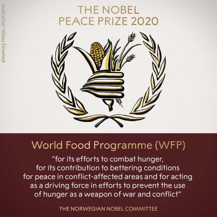 United Nations' World Food Programme awarded Nobel Peace Prize 2020