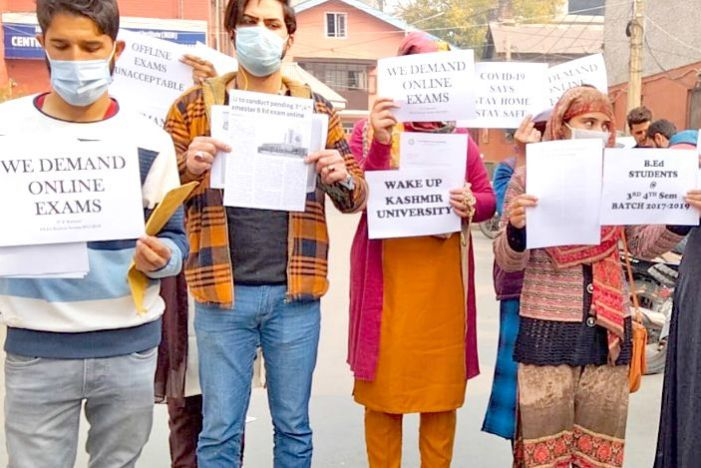 B.Ed students protest, seeking KU hold online exams