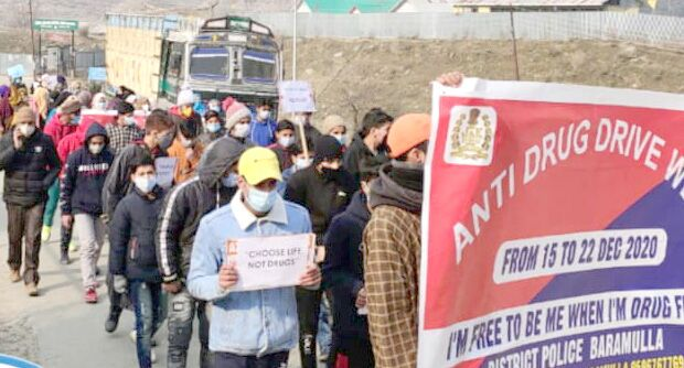 Another rally held by police in Baramulla