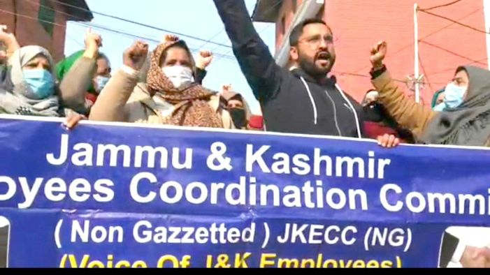 JKECC holds protest, demand pending salaries for ICDS employees