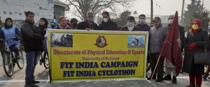 KU V-C flags off 'Fit India Cyclothon'