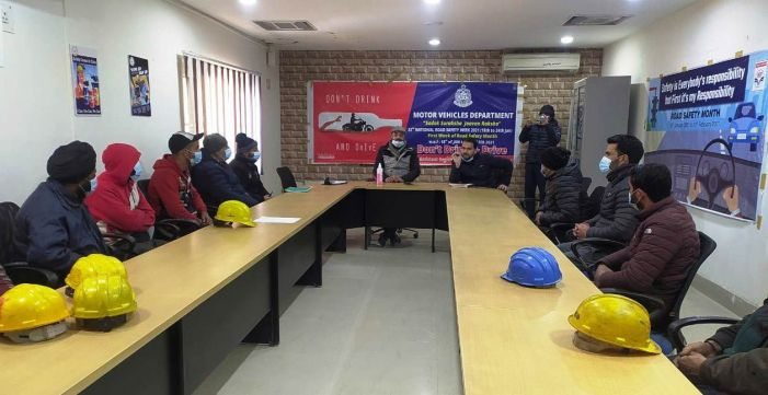 ARTO Pulwama holds road safety awareness programme for HPCL drivers at Pampore