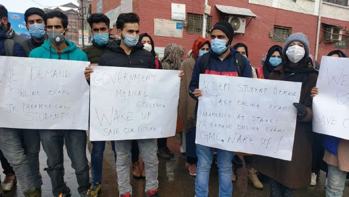 Paramedical diploma holders protest, demand online exams