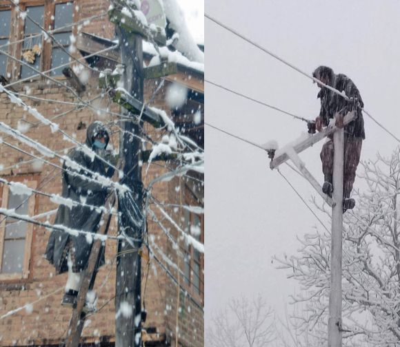Their life on the line: PDD's 'casual' workers get not even shoes for being on their toes all winter in deep snow, or atop an electric pole in bone-chilling cold
