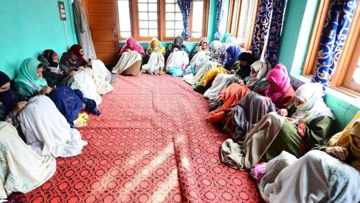 Women artists working together at central Kashmir's Badgam district