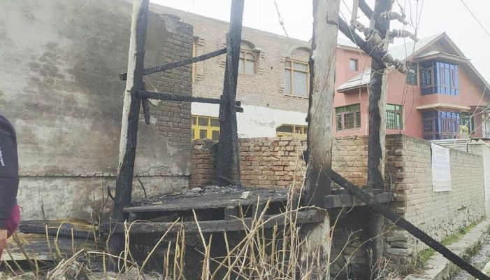Power supply hit in Pampore locality as electric transformer damaged by fire