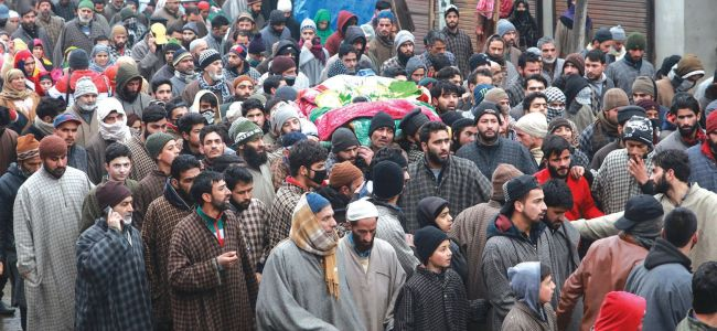 Six militants killed in twin encounters laid to rest