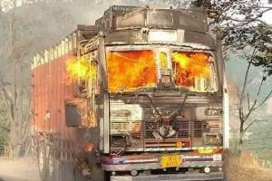 Truck catches fire at Jawhar Tunnel, traffic suspended on NH1