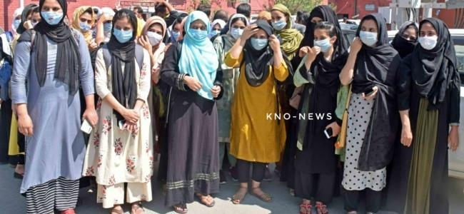 Students from Govt College for Women stage protest, demand fee concession