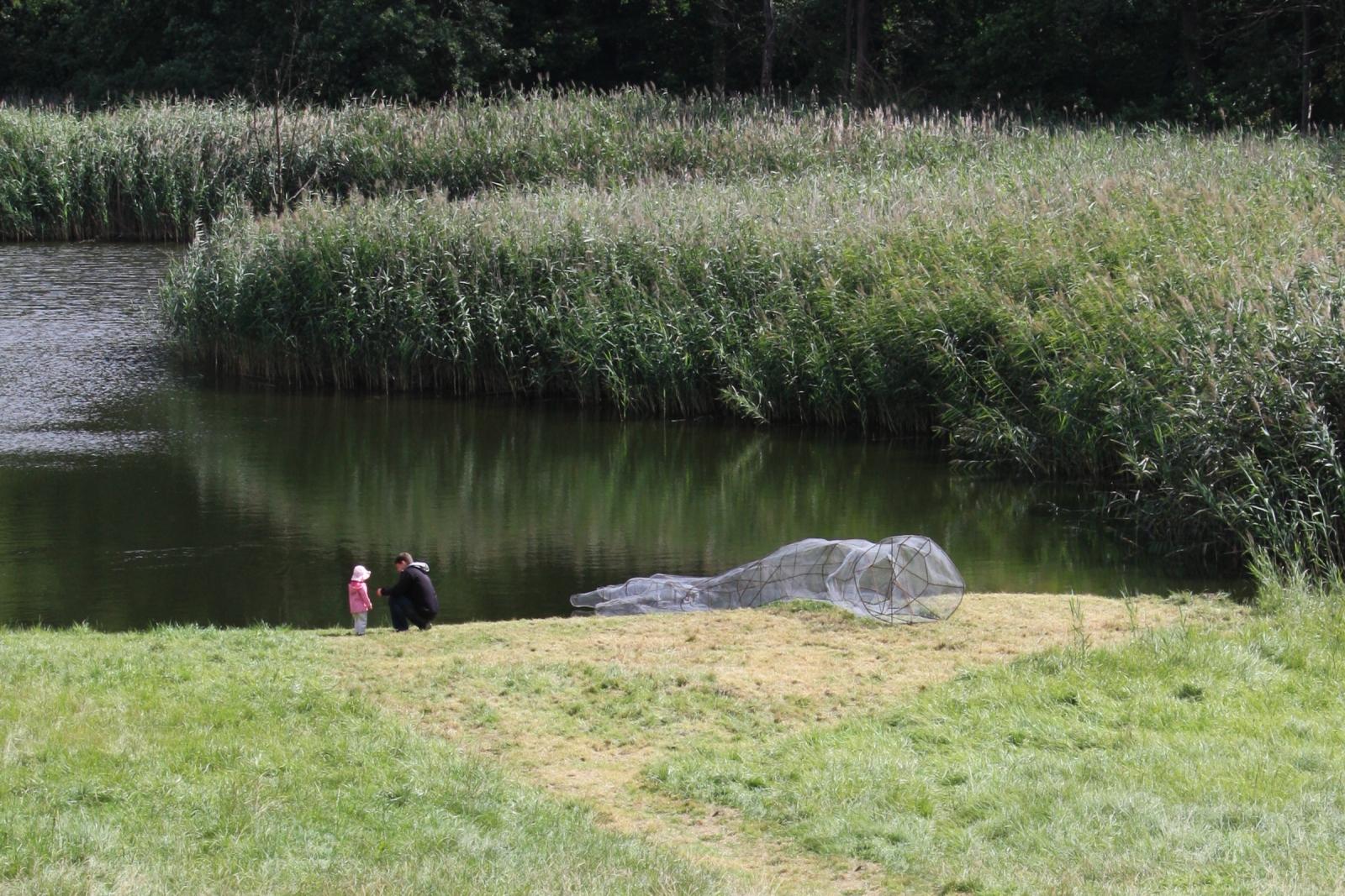 Testing the Waters, Sculpture, Steel and Hexagonal Wire Mesh, 2014, Schloss Trebnitz, Germany. Photo (c) Joseph Marr.