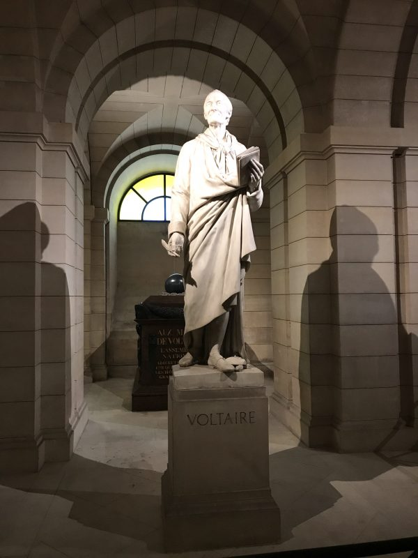 statue of voltaire inside pantheon