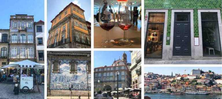 shots of colourful houses in Porto