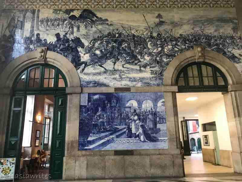 Inside Sao Bento train station in Porto