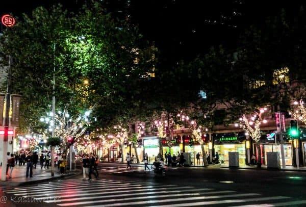 dark road illuminated with lights