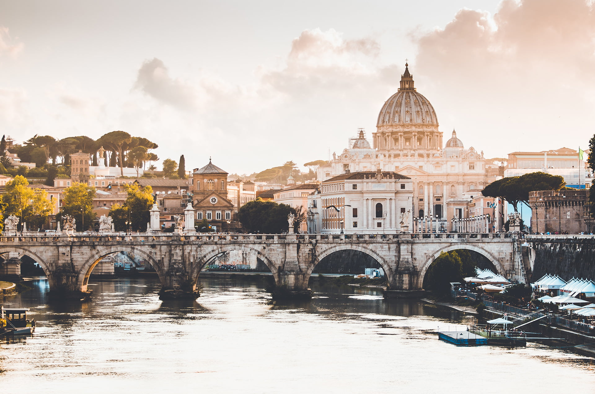 view of the Vatican and bridge in Rome