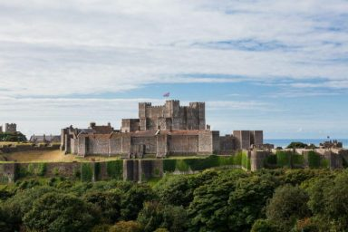 Dover castle on a hill one of many castles in kent