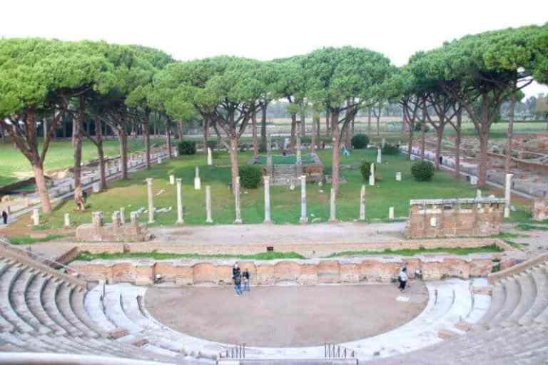 ruins of Roman amphitheater in Ostia Antica