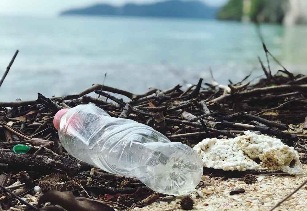 empty plastic bottle on the beach