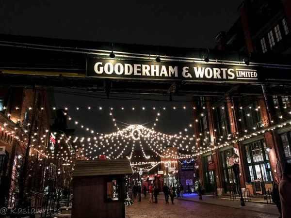 Gooderham and Worts sign illuminated at night