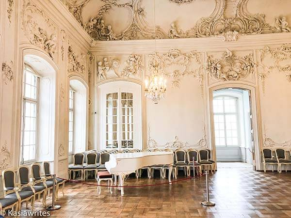 Grand piano inside the ballroom inside Rundale Palace
