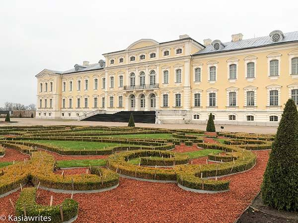 the French garden outside Rundale Palace in Latvia