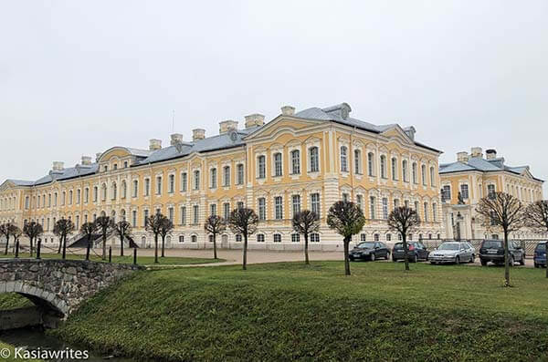 outside walls of Rundale Palace in Latvia