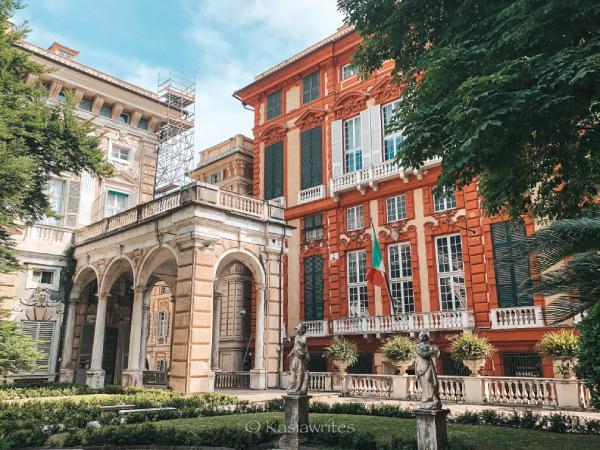 orange palazzo in Genoa Italy