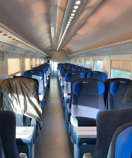 empty seats on a train cart